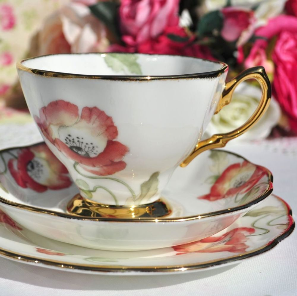Royal Albert Poppy Teacup Trio