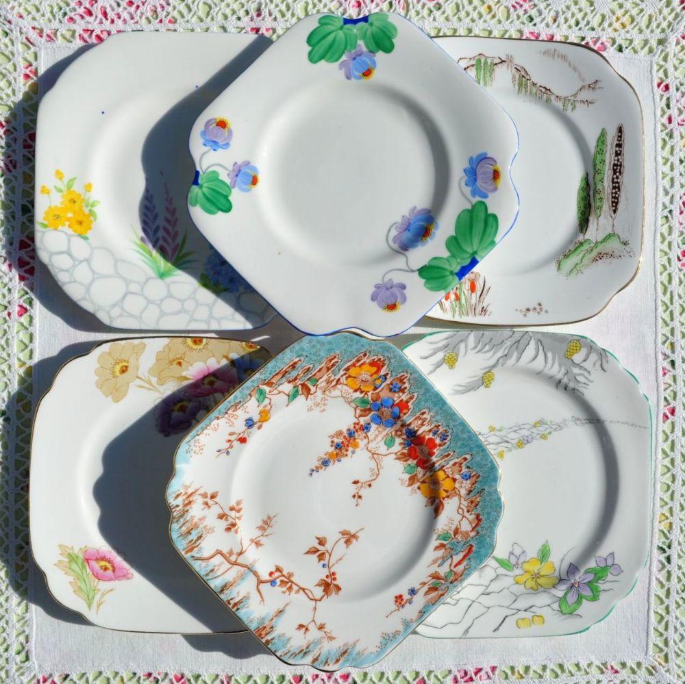 Art Deco Mismatched Tea Plates