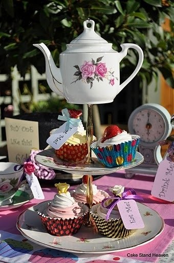 Mad Tea Party Vintage Cake Stand
