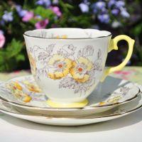 Lemon Glazed Poppy Teacup Trio
