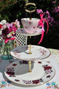 Rose Garden Teacup Top Cake Stand