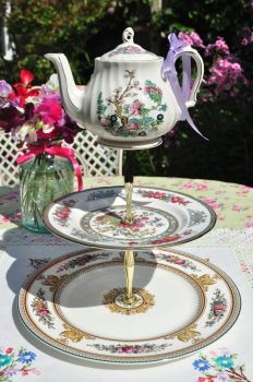 Teapot Topped 3 Tier Cake Stand