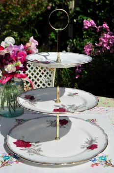 Roses To Remember 3 Tier Cake Stand