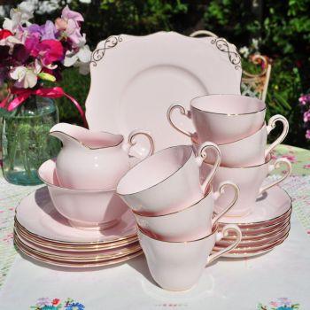 Tuscan Pastel Pink 21 Piece Tea Set