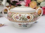 Asian Flowers Minton Fine Bone China Sugar Bowl c.1989