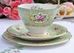 Queen Anne Gainsborough Green and Floral China Teacup, Saucer and Tea Plate