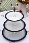 Denby Imperial Blue Plates 3 Tier Cake Stand