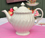 Johnson Bros. Swirl White China Teapot