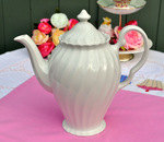 Johnson Bros. Swirl White China Large Teapot
