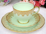 Radfords Vintage China Pale Green and Gold Teacup Trio c.1928