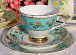 Gladstone Vintage China Turquoise and Gold Teacup Trio