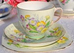 Old Royal Vintage Bone China Primrose Teacup Trio c.1930-41