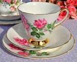 Old Royal 'Pink Roses' Vintage Bone China Teacup Trio