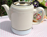 Denby Vintage Large Cream and Pale Blue Teapot