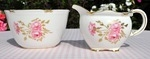 Royal Crown Derby Pinxton Roses Creamer and Sugar Bowl c.1930's