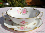 Pinxton Roses Soup Coupe and Saucer Set c.1967