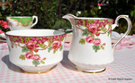 Royal Stafford 'Olde English Garden' Vintage China Milk Jug and Sugar Bowl c.1952