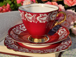 Red and Gold Vintage Windsor China Teacup Trio