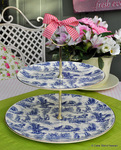 Sheltonian China Toile de Jouy 2 Tier Cake Stand