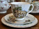 Thatched Cottage Scene Bone China Teacup Trios