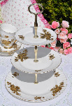 Shelley 1940's China White and Gold 3 Tier cake Stand