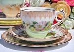 Royal Stafford 1950's Pale Green, Pink and Yellow Floral Bone China Teacup Trio