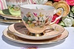 Royal Stafford Trousseau 1950's Pale Peach Bone China Teacup Trio