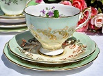 Royal Standard China Mint Green, Yellow and Violets Teacup Trio c.1949