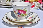 Radfords Floral Sprays Vintage Bone China Teacup Trio c.1938-57