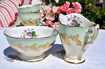 Royal Standard China Mint Green, Yellow and Violets Milk Jug and Sugar Bowl c.1949