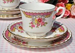 Royal Stafford Regency Pink China Teacup, Saucer and Tea Plate Trio