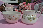 Royal Doulton Strawberry Cream Pattern Milk Jug and Sugar Bowl