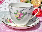 Old Royal Vintage Floral China Breakfast Teacup and Saucer