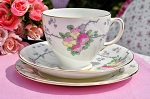 Old Royal Vintage Floral China Teacup Trio