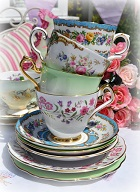 Floral Mismatched China Tea Cups