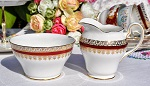 Salisbury Vintage Red and Gold China Sugar Bowl and Creamer