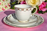 Antique China Rose Garland Teacup, Saucer and Tea Plate Trio c.1911+