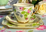 Grafton China Vintage Rose Bud Pattern Teacup Trio c.1935+