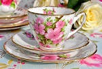 Gladstone Vintage China Pink Blossom Pattern Teacup Trio c.1946-61