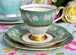 Sutherland China Duck Egg Green and Embossed Cream Vine Teacup Trio