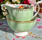 Salisbury Vintage Bone China Green Floral Milk Jug and Sugar Bowl c.1959-61