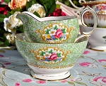 Queen Anne Gainsborough Pattern Green Floral Milk Jug and Sugar Bowl