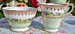 Royal Stafford 1950's Pale Green, Pink and Yellow Floral Bone China Milk Jug and Sugar Bowl