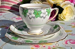 Royal Grafton Vintage Seaton Pattern Green and White Floral China Teacup Trio c.1950+
