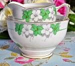 Royal Grafton Vintage Seaton Pattern Green and White Floral China Milk Jug and Sugar Bowl