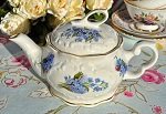 Blue Forget Me Not Pattern 3 Cup Fine Ceramic Teapot 16.fl.oz