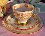 Tuscan Pastel Pink and Gold Hand Enamelled Pattern 9186H Fine China Teacup Trio c.1947+