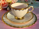 Tuscan Pastel Pink and Gold Border Pattern 6710H Fine China Teacup Trio c.1936+
