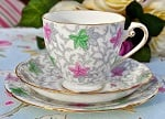 Grafton Vintage China Pink and Green Teacup Trio c.1935-49