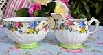 Aynsley Vintage Floral China Sugar Bowl and Creamer c.1933